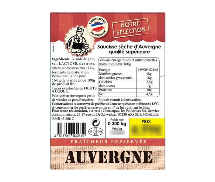 Etiquette Saucisse sèche d'Auvergne - Brocéliande
